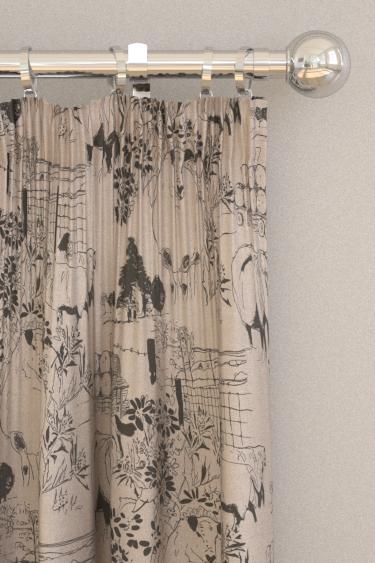 Belynda Sharples Linen Union Sheep 02 Black / Linen Curtains - Product code: BS-LU-SHE-02