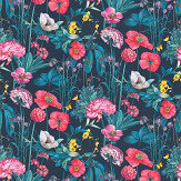 Osborne & Little Meadow Midnight / Coral / Teal Fabric - Product code: F7010/02