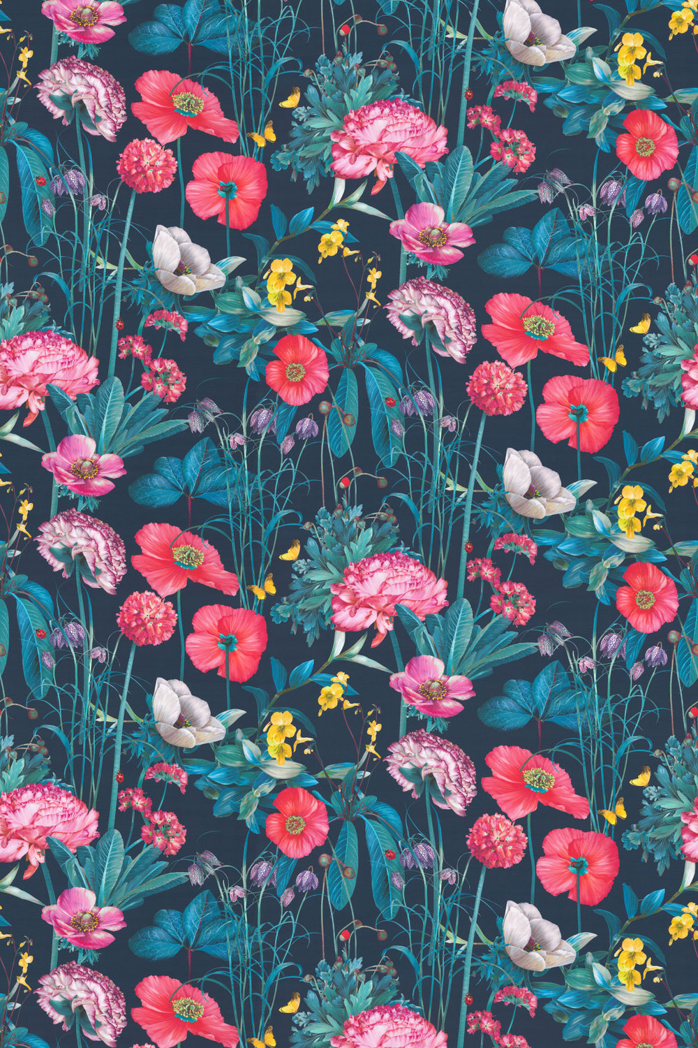 Meadow Fabric - Midnight / Coral / Teal - by Osborne & Little
