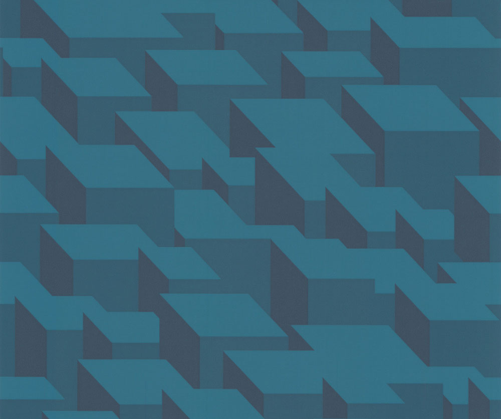 Kirkby Design.com Cubic Bumps Teal Wallpaper main image