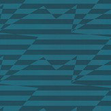 Kirkby Design.com Stripey Zig Zag Birds Teal Wallpaper