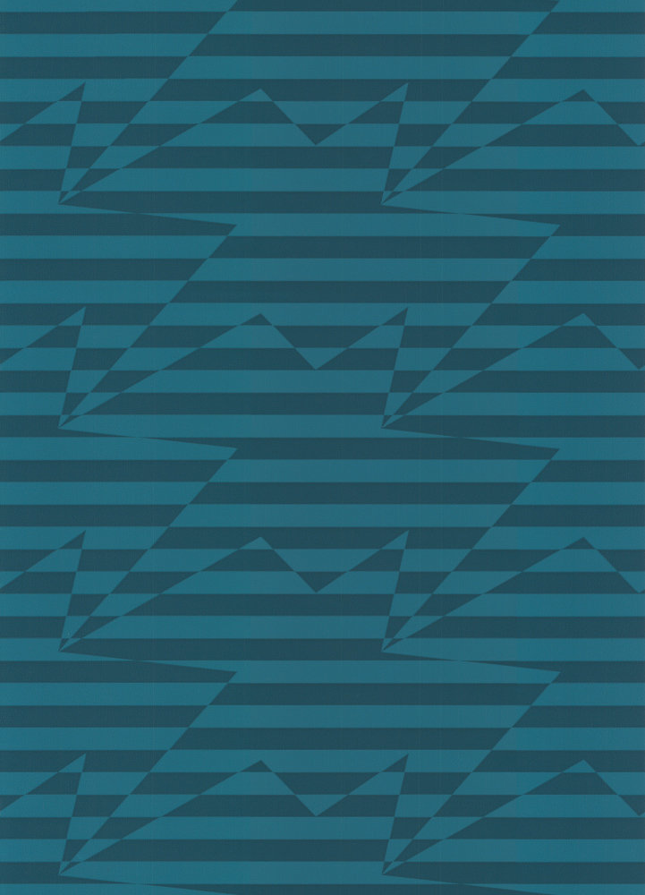 Kirkby Design.com Stripey Zig Zag Birds Teal Wallpaper main image