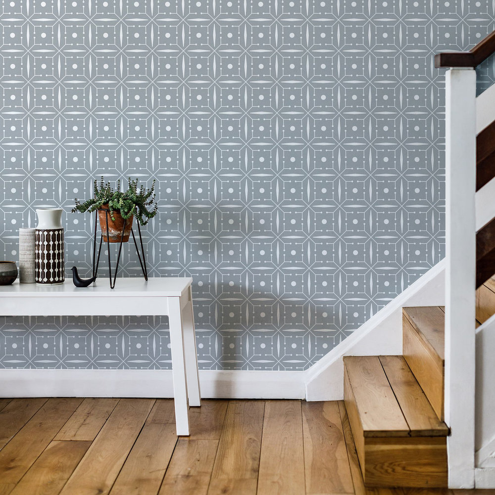 Layla Faye Domino Silvery Moon Grey Wallpaper - Product code: LF1046