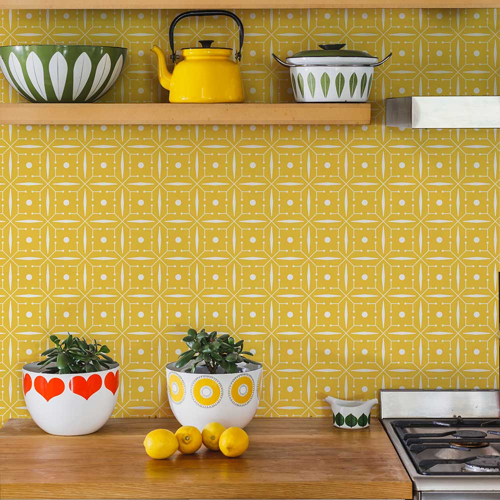 Layla Faye Domino Buttercup Yellow Wallpaper - Product code: LF1048