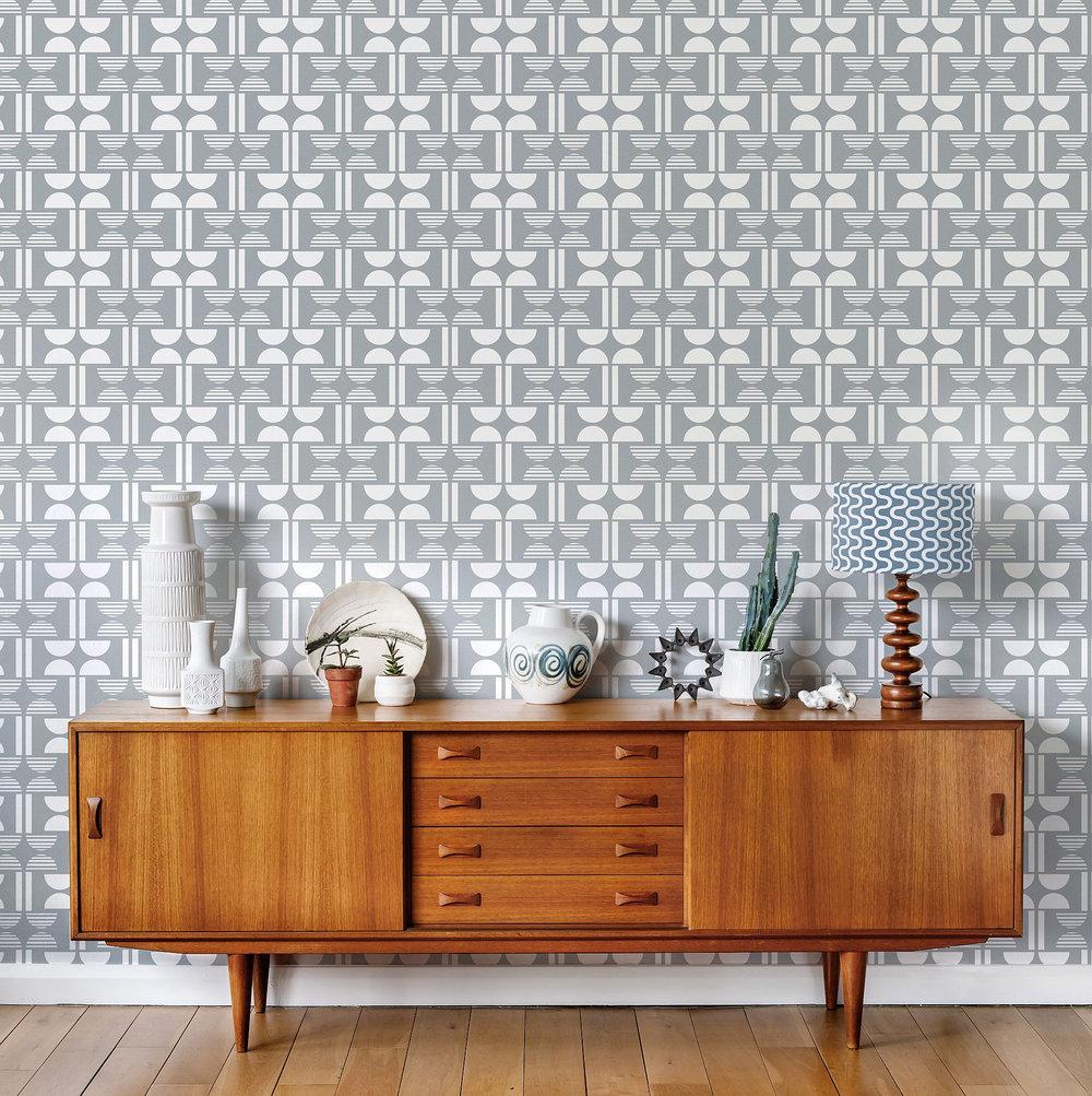 Napier Wallpaper - Silvery Moon Grey - by Layla Faye
