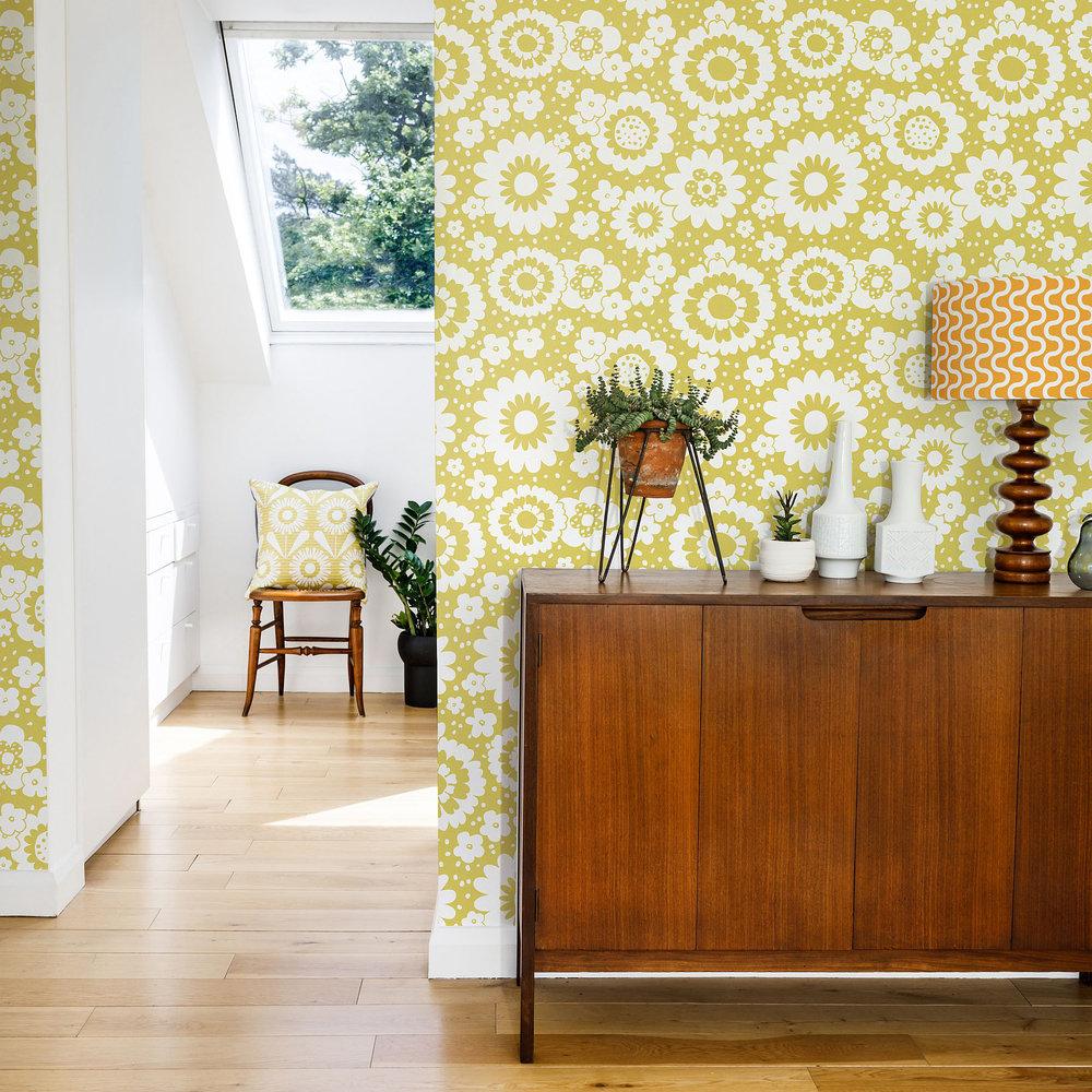 Layla Faye Mod Meadows Olive Wallpaper - Product code: LF1054