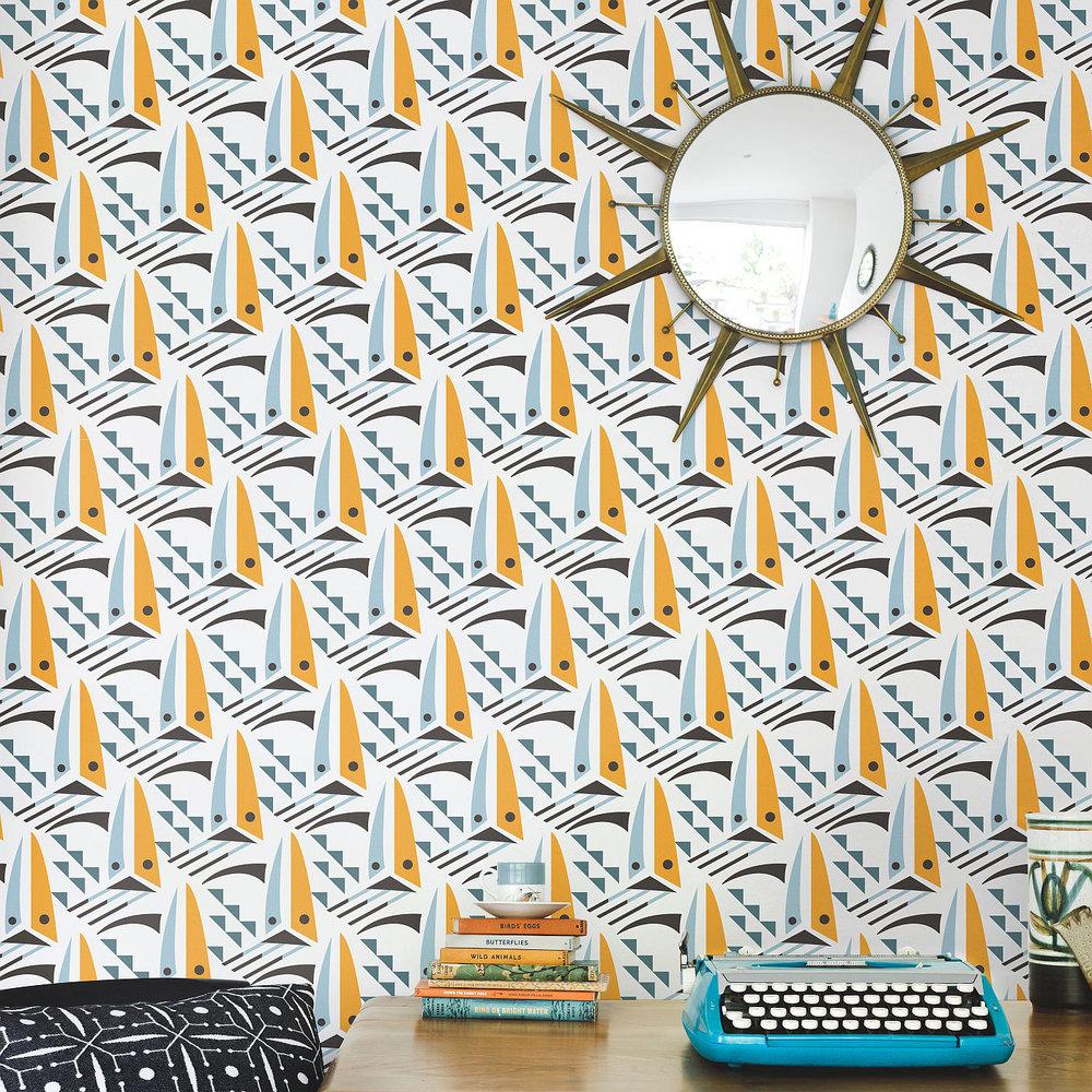 Layla Faye Sailing Boats Sunset Orange Wallpaper - Product code: LF1057