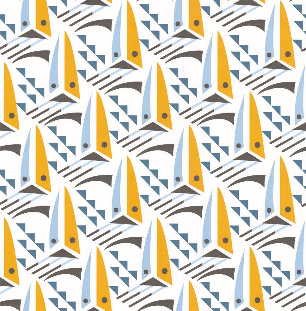 Sailing Boats Wallpaper - Sunset Orange - by Layla Faye