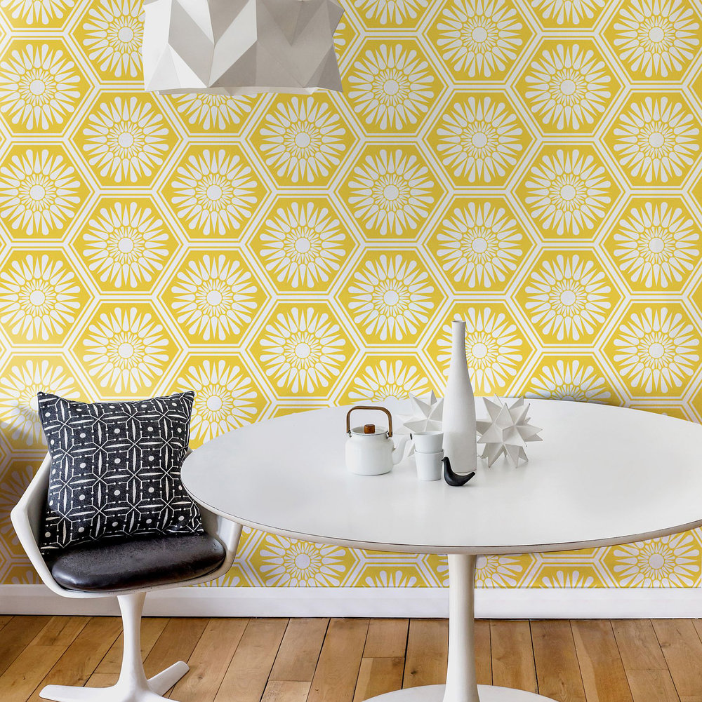 Layla Faye Hex Buttercup Yellow Wallpaper - Product code: LF1060