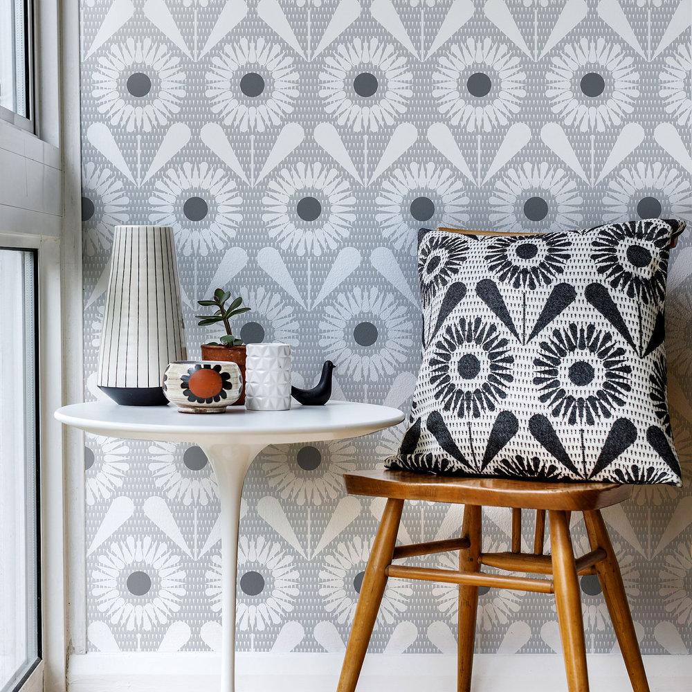 Sunny Flower Wallpaper - Silvery Moon Grey - by Layla Faye