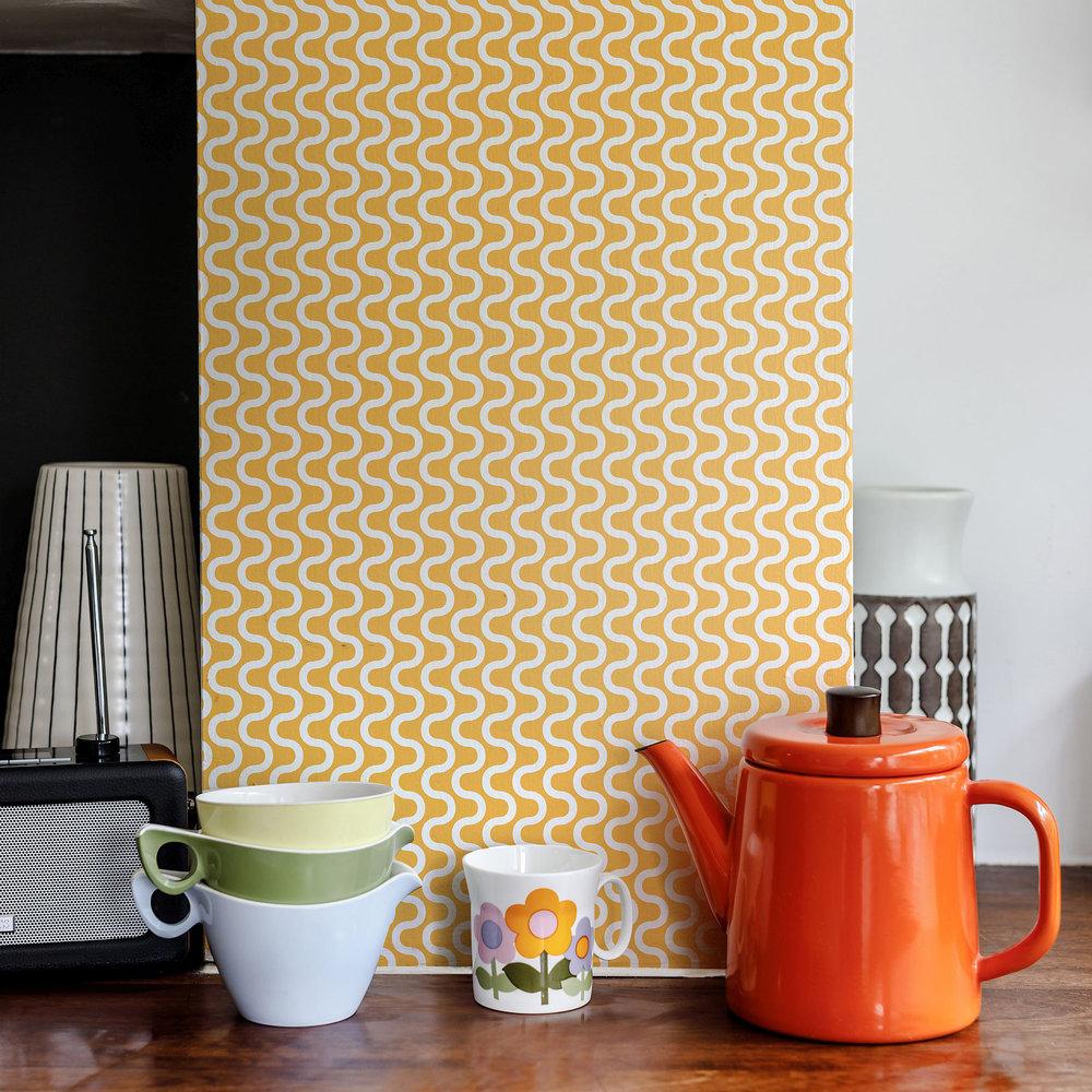 Layla Faye Ripple Tangerine Wallpaper - Product code: LF1064