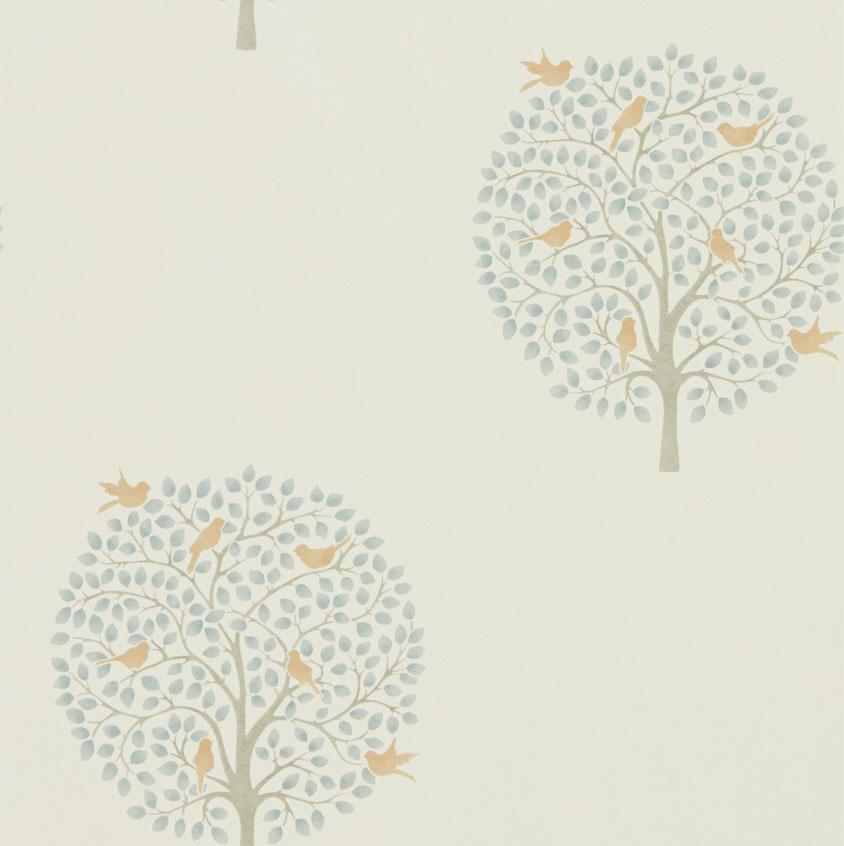 Sanderson Bay Tree Copper / Denim Wallpaper main image