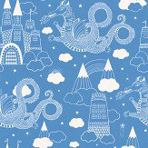 Majvillan Dragon Sky Cornflower blue Wallpaper