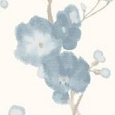 Galerie Watercolour Cherry Blossom Blue Wallpaper