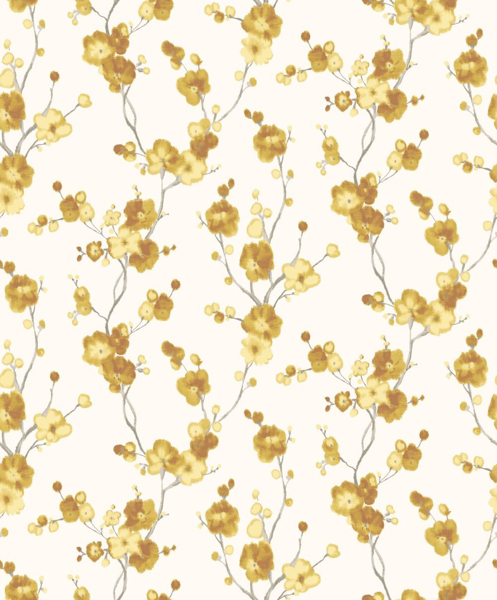 Galerie Watercolour Cherry Blossom Yellow Wallpaper main image