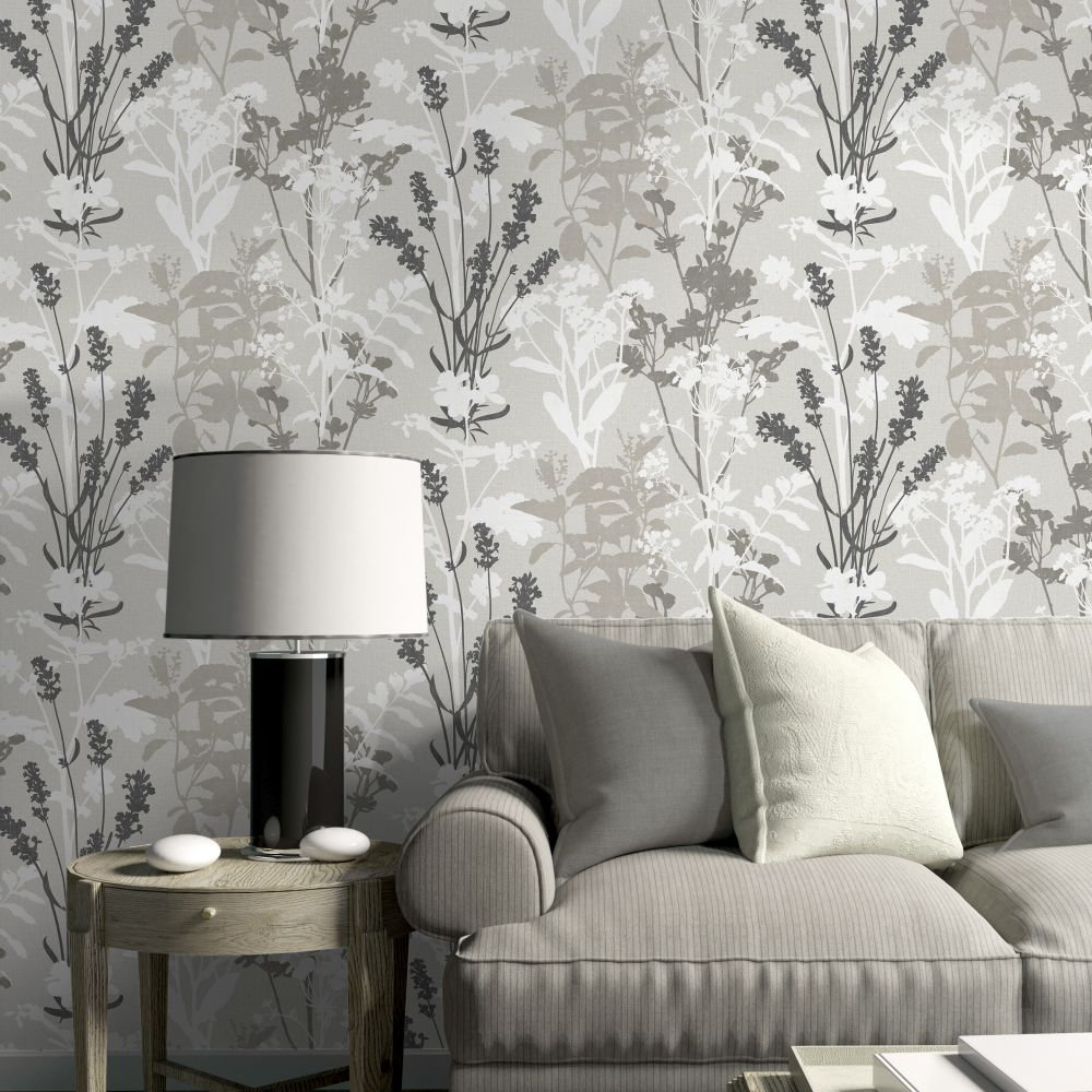 Wild Flowers Wallpaper - Grey - by Albany