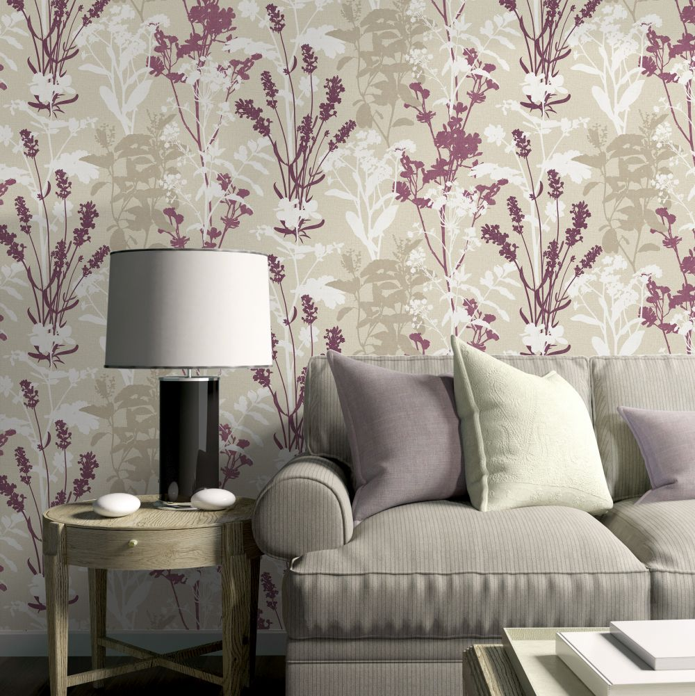 Wild Flowers Wallpaper - Berry - by Albany