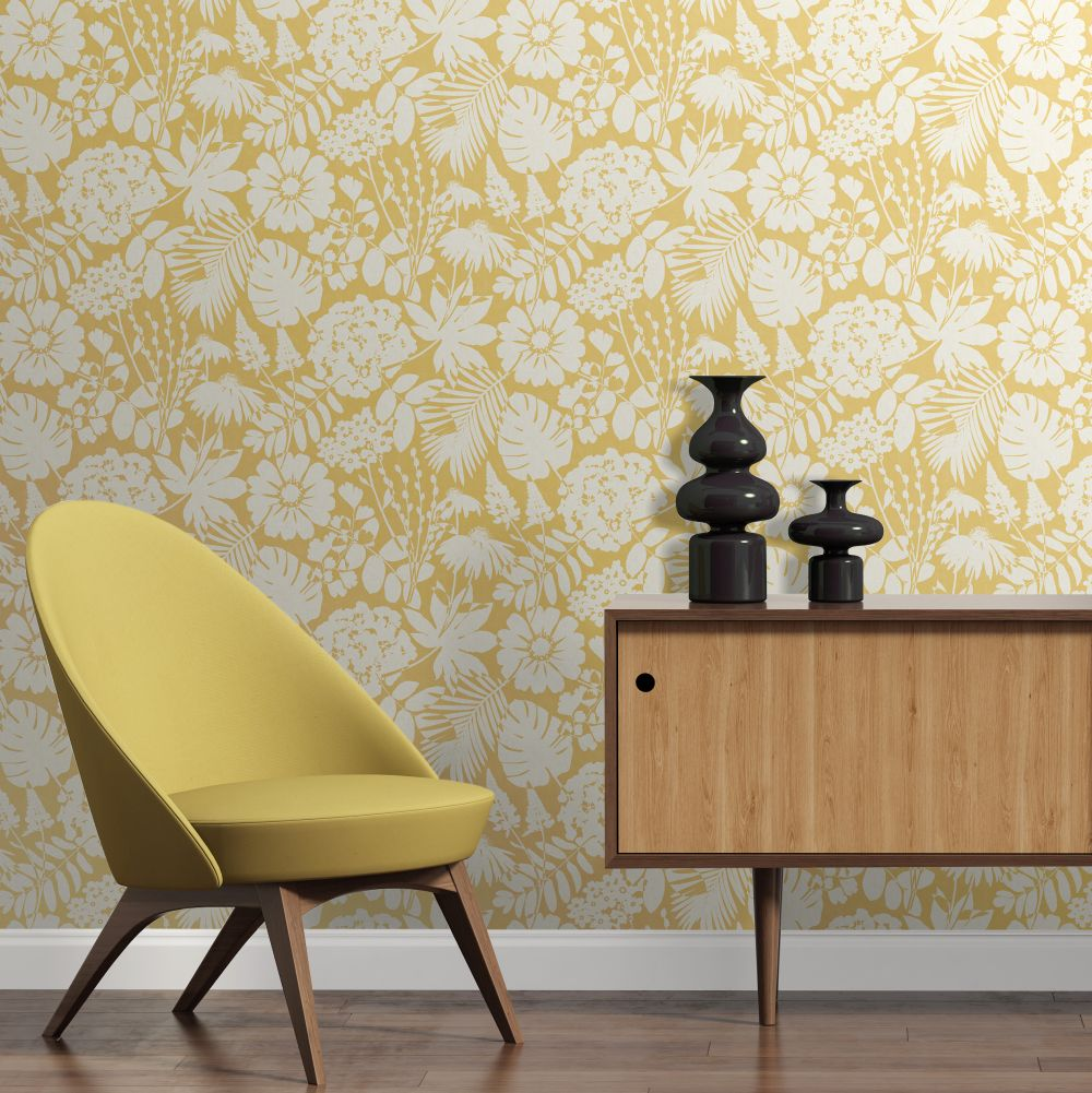 Bold Floral Wallpaper - Mustard - by Albany