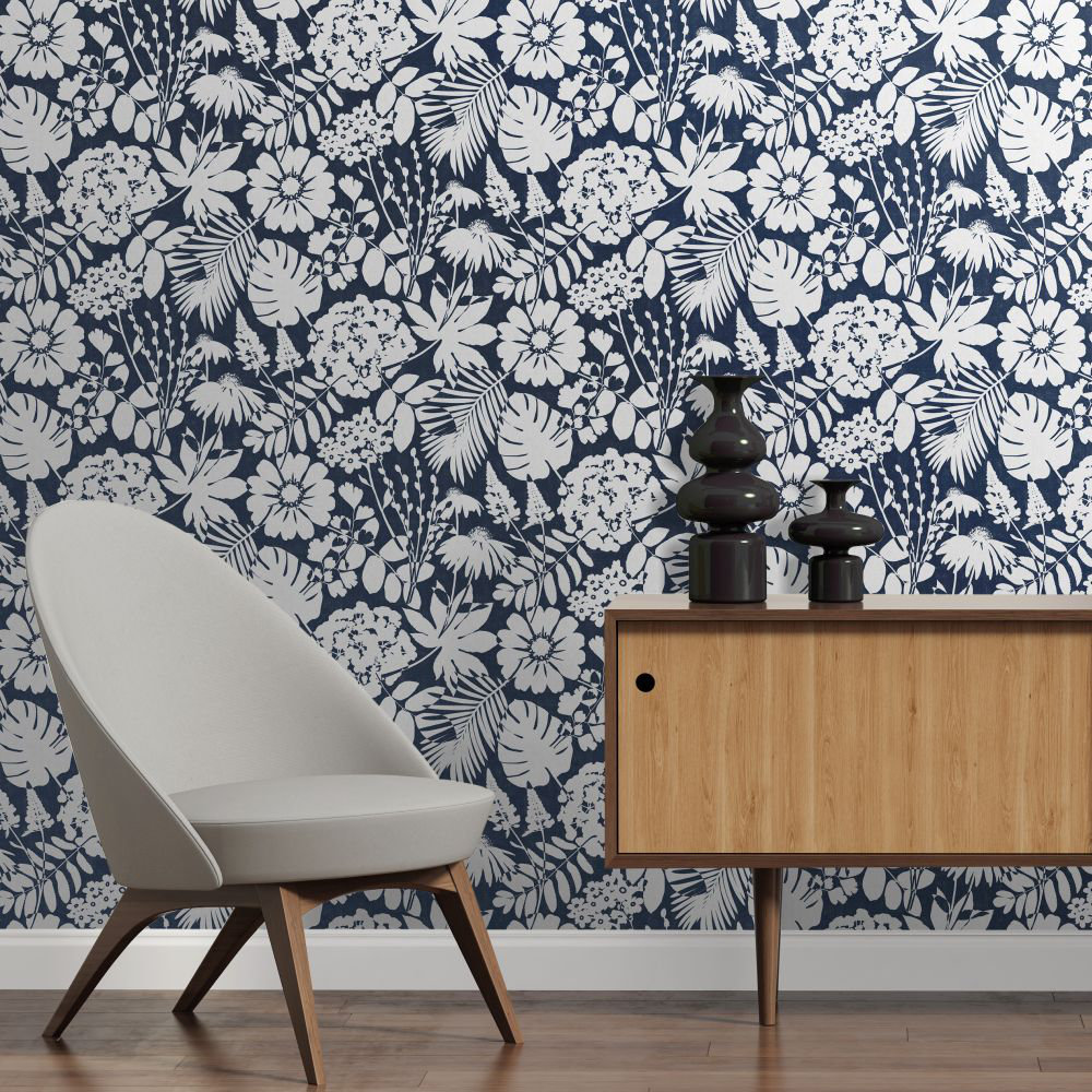 Bold Floral Wallpaper - Navy Blue - by Albany
