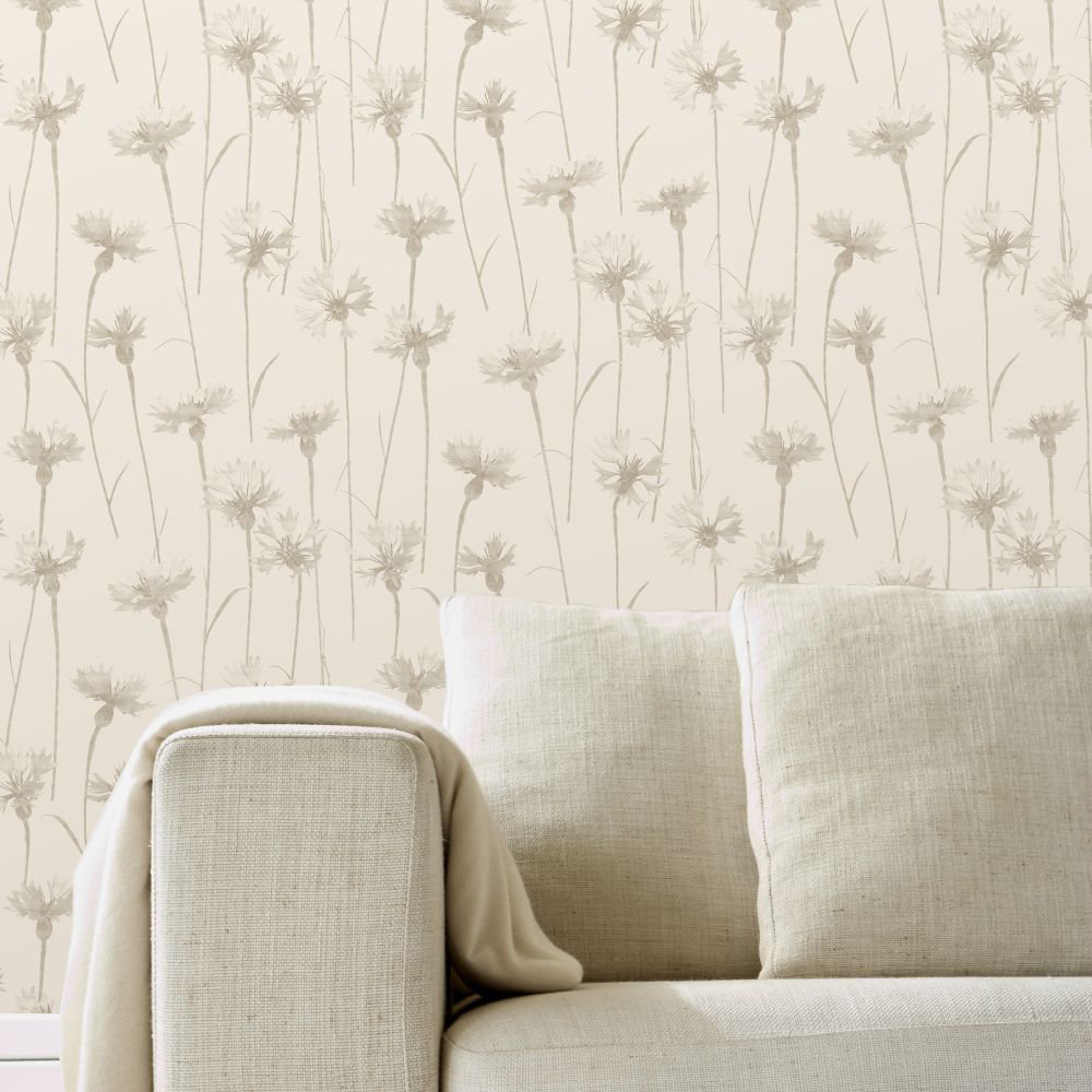 Cornflower Wallpaper - Beige - by Albany