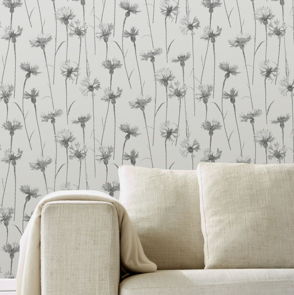 Cornflower Wallpaper - Grey - by Albany
