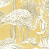 Albany Lagoon Flamingo Mustard Wallpaper