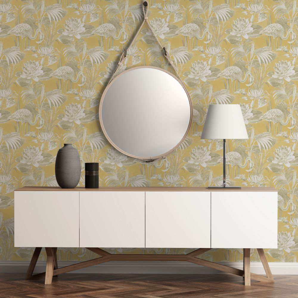 Albany Lagoon Flamingo Mustard Wallpaper - Product code: CB42120