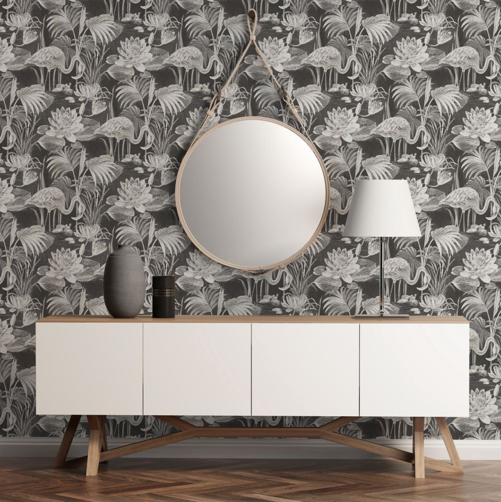Albany Lagoon Flamingo Ebony Wallpaper - Product code: CB42121