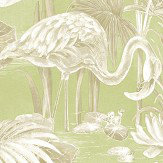 Albany Lagoon Flamingo Green Wallpaper