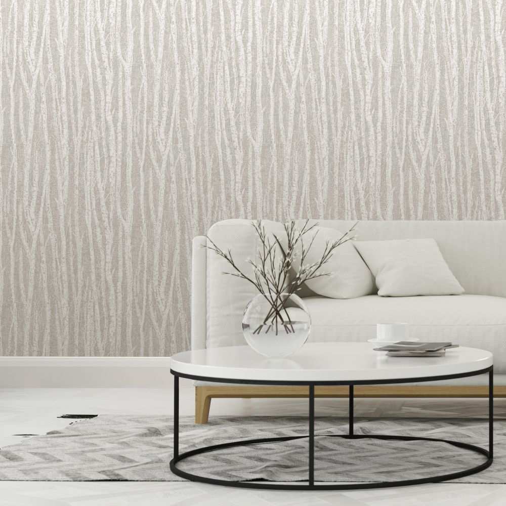 Albany Birch Tree Taupe Wallpaper extra image