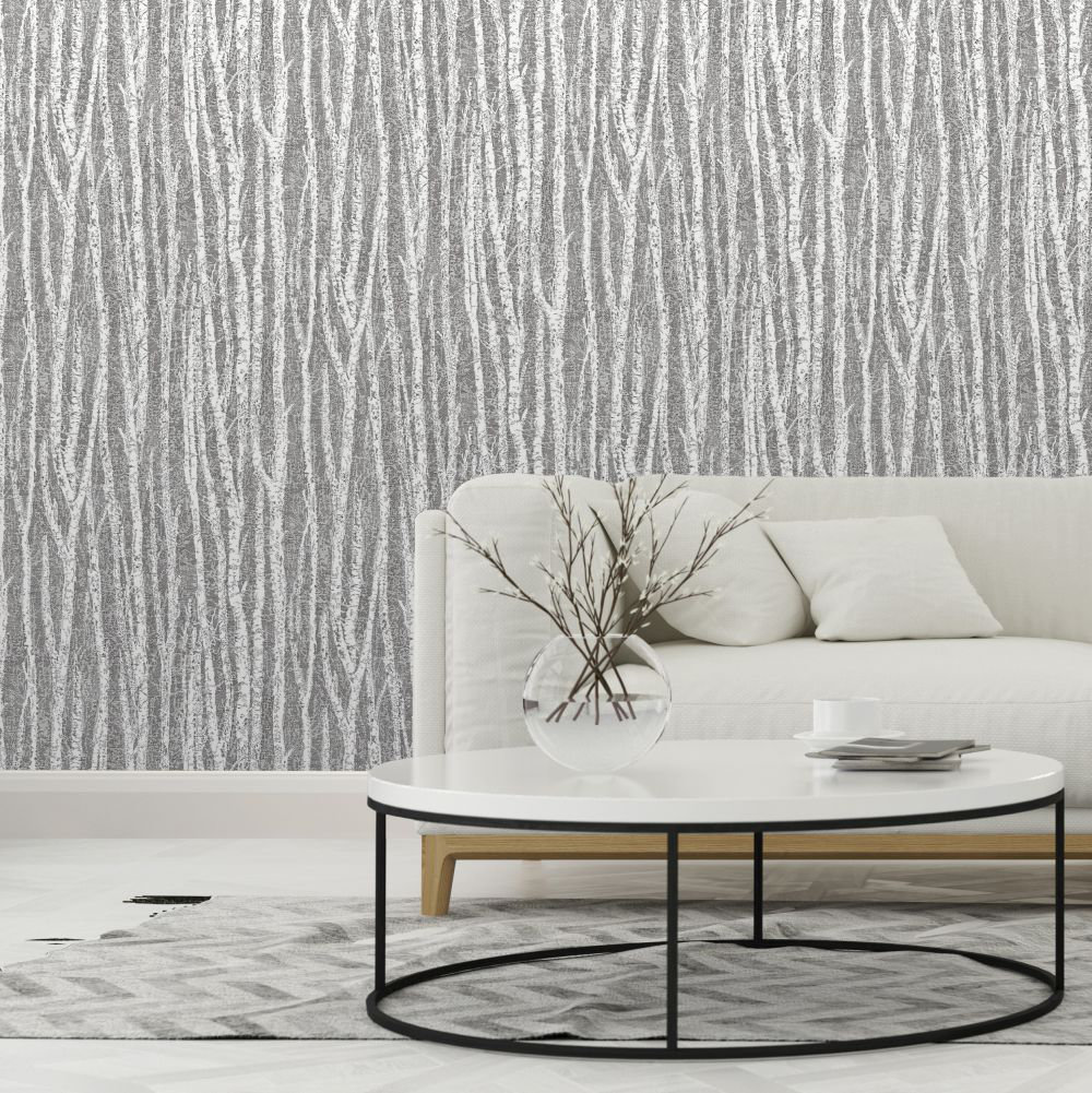 Birch Tree Wallpaper - Black - by Albany