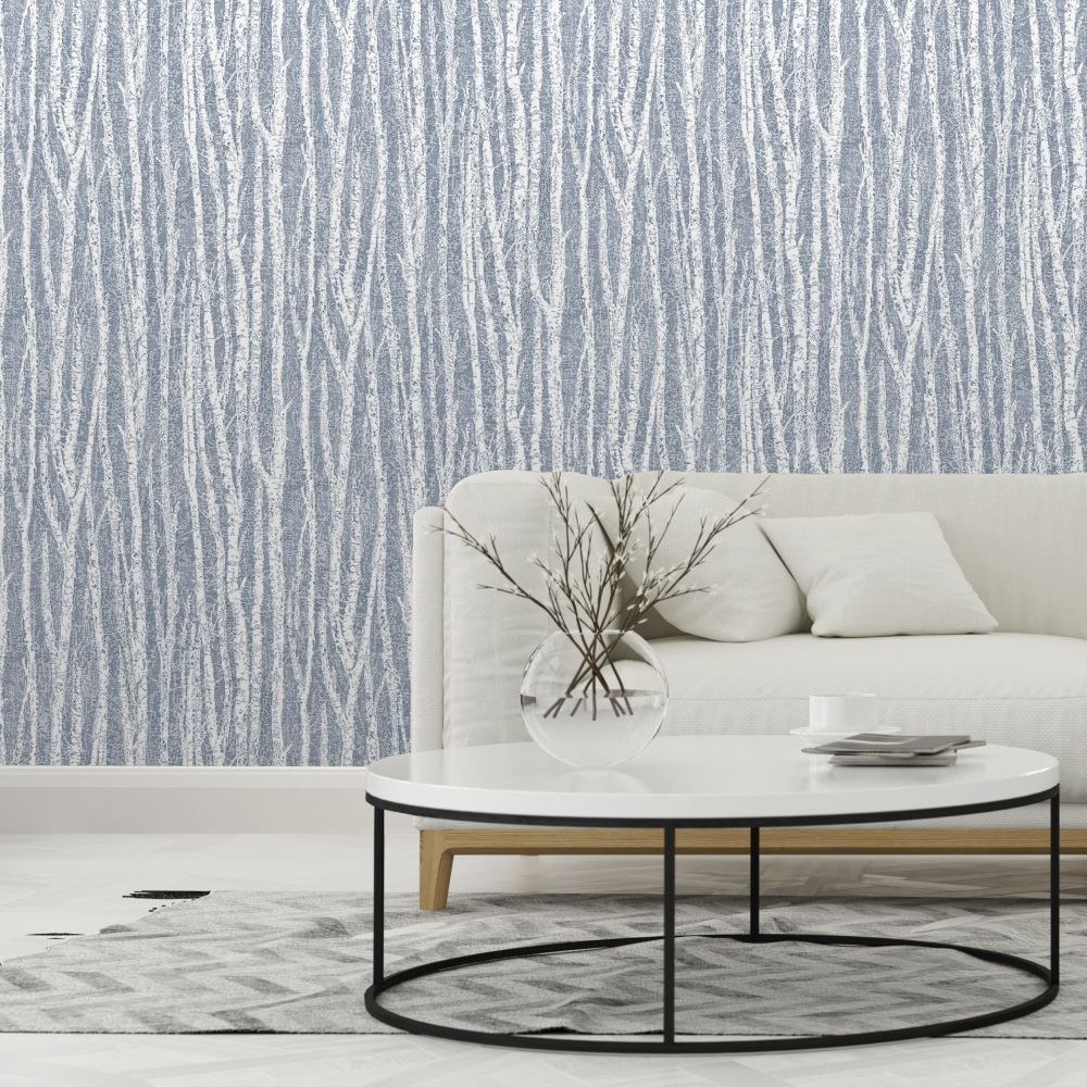 Birch Tree Wallpaper - Navy Blue - by Albany