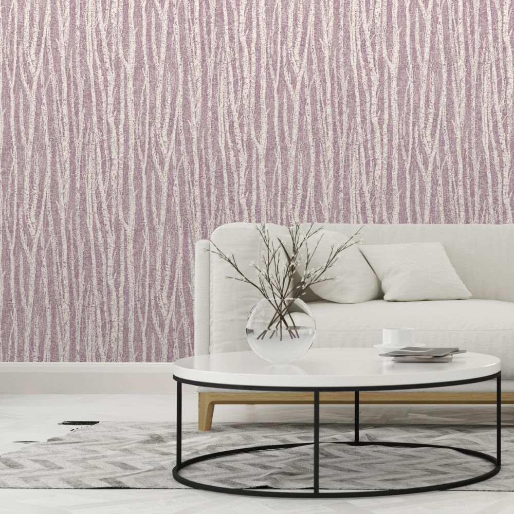 Birch Tree Wallpaper - Berry - by Albany