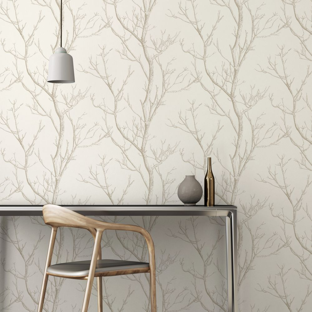 Silhouette Tree Wallpaper - White - by Albany