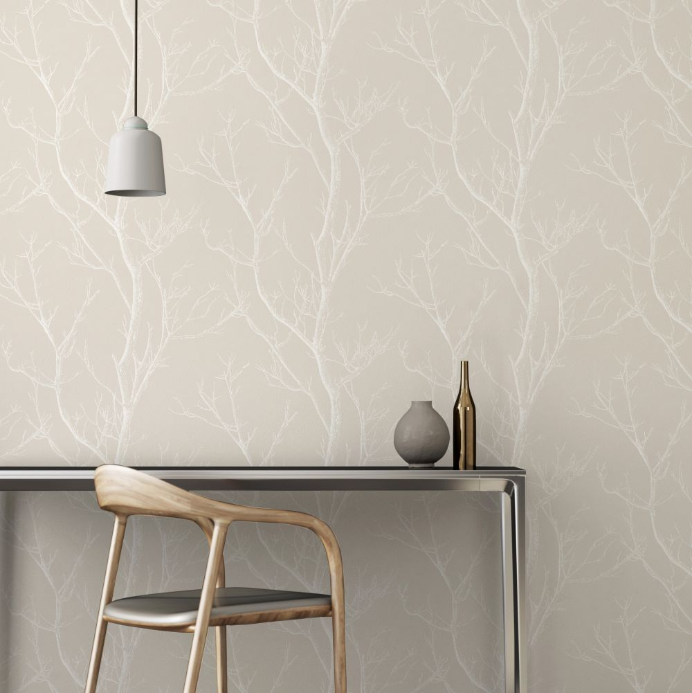 Albany Silhouette Tree Taupe Wallpaper - Product code: CB42138