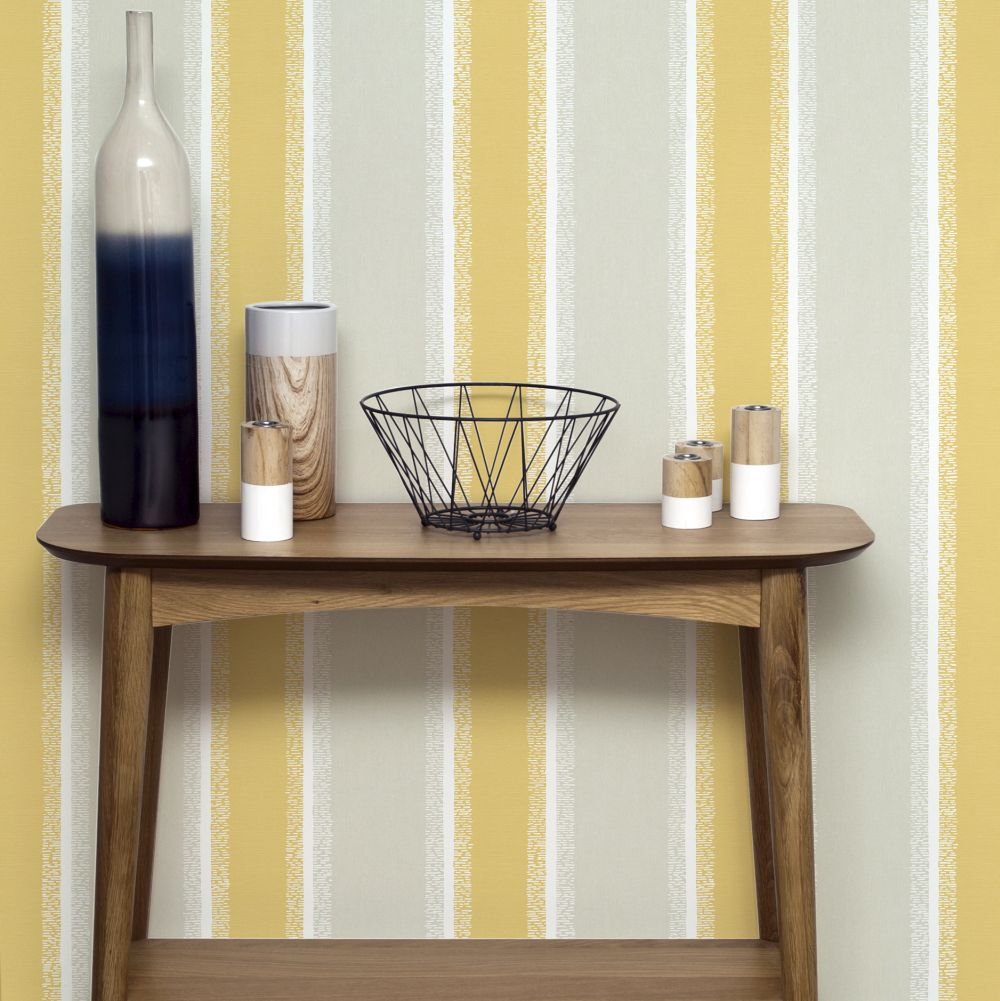 Stripe Wallpaper - Mustard - by Albany