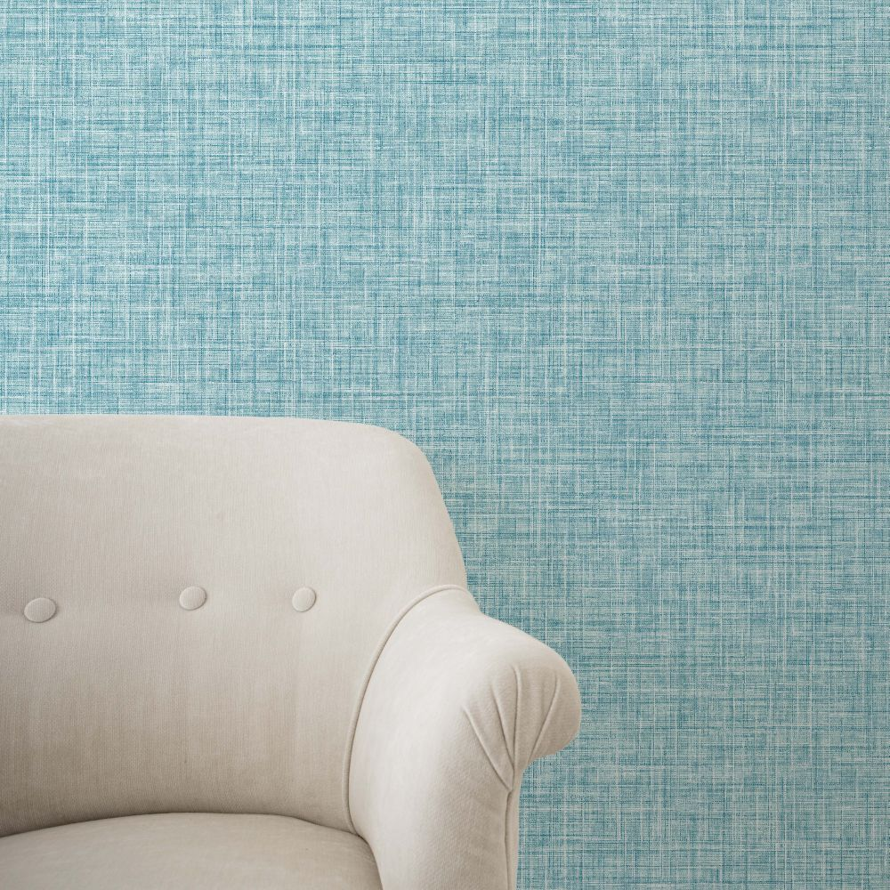 Crosshatch Texture Wallpaper - Teal - by Albany