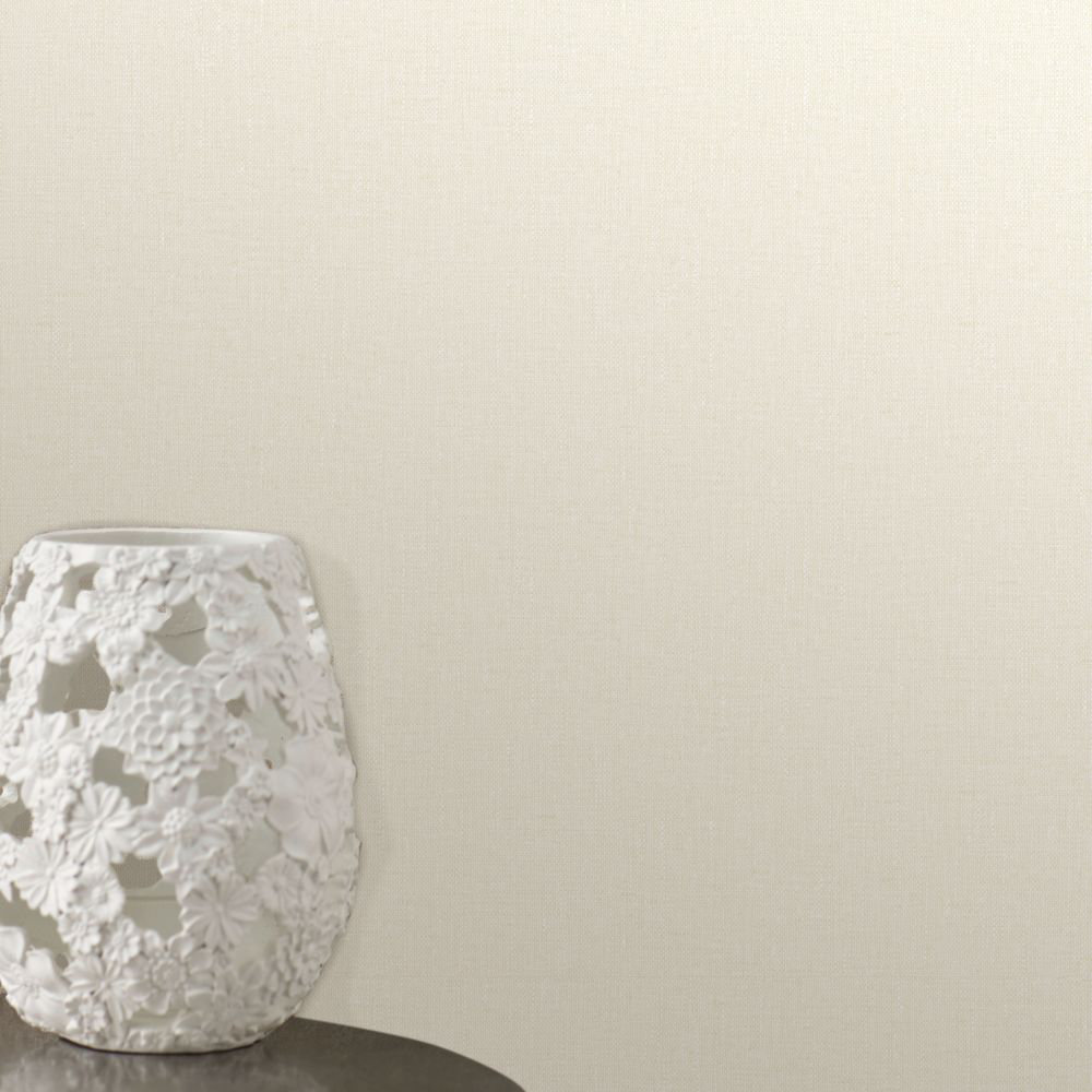 Linen Wallpaper - Light Cream - by Albany