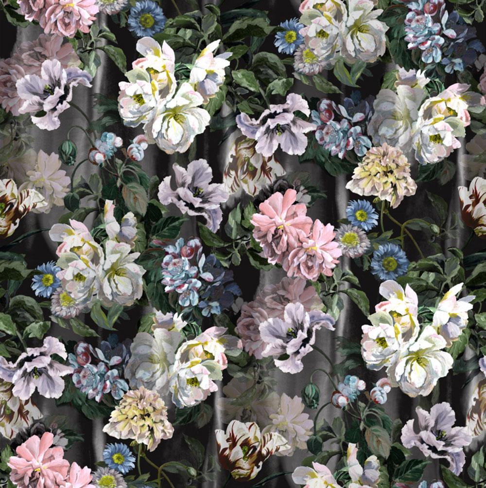 Delft Flower Grande Mural - Graphite - by Designers Guild