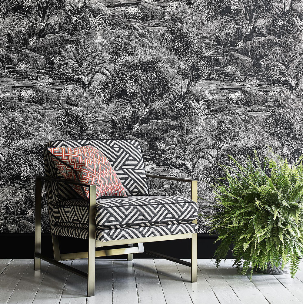 Linwood Island Paradise Charcoal Wallpaper - Product code: LW074/003