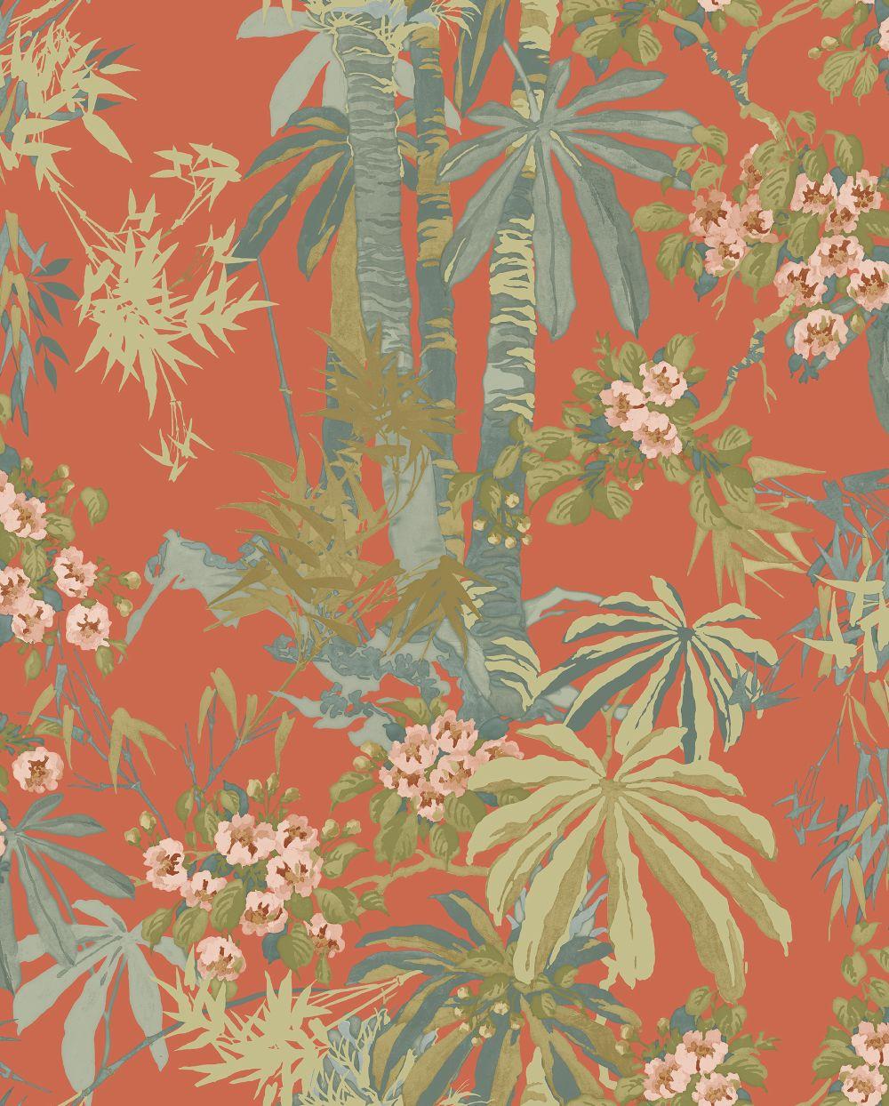 Linwood Bamboo Garden Tomato Wallpaper - Product code: LW077/002