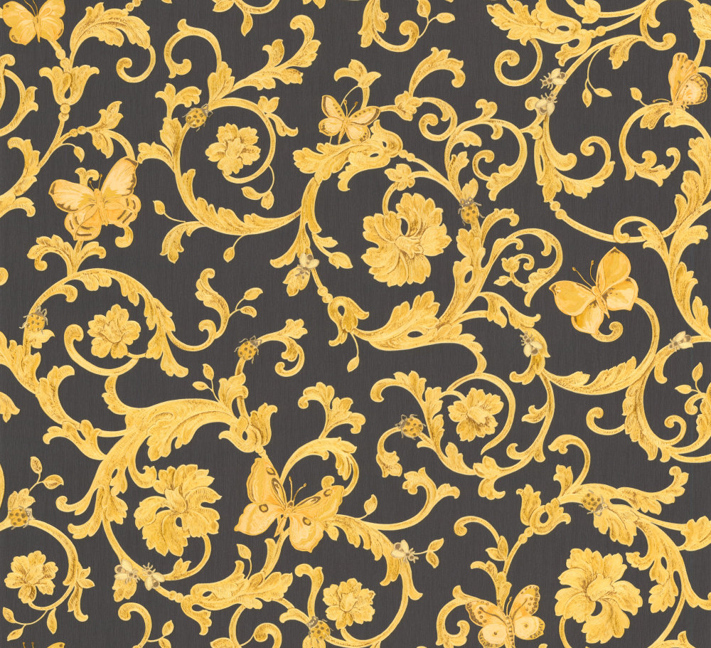 Versace Ladybird Trail Black Gold Wallpaper Main Image