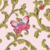 Versace Ladybird Trail Pink Wallpaper