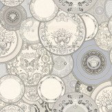 Versace Decorative Plates Silver Grey Wallpaper