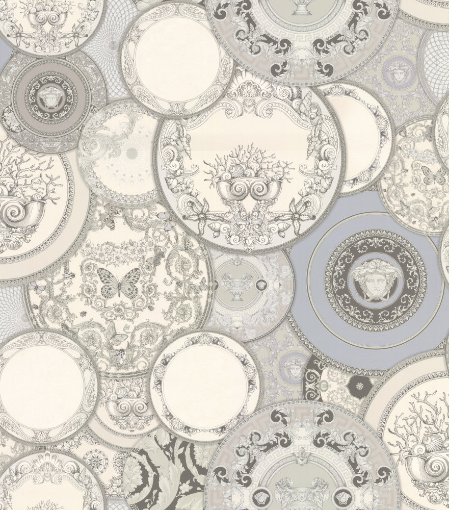 Versace Decorative Plates Silver Grey Wallpaper main image