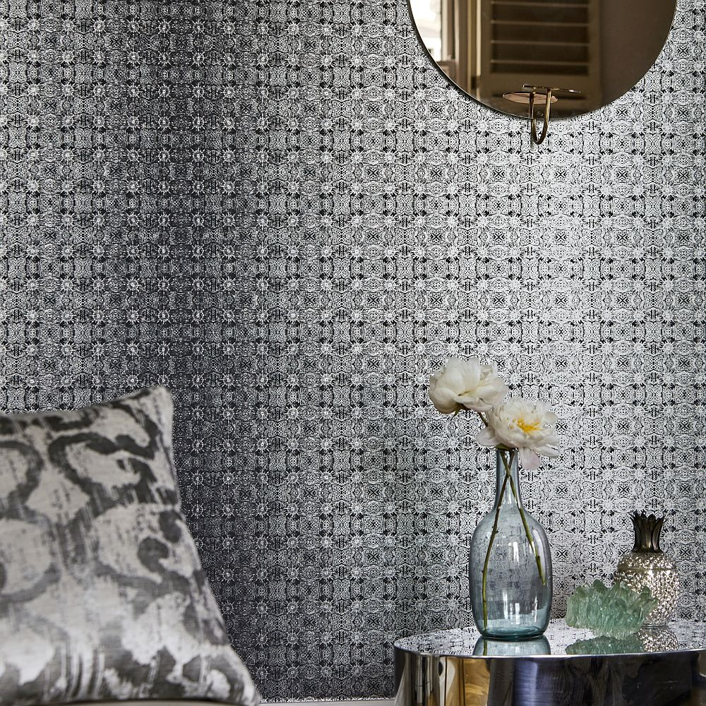 Eminence Wallpaper - Silver & Ink - by Harlequin
