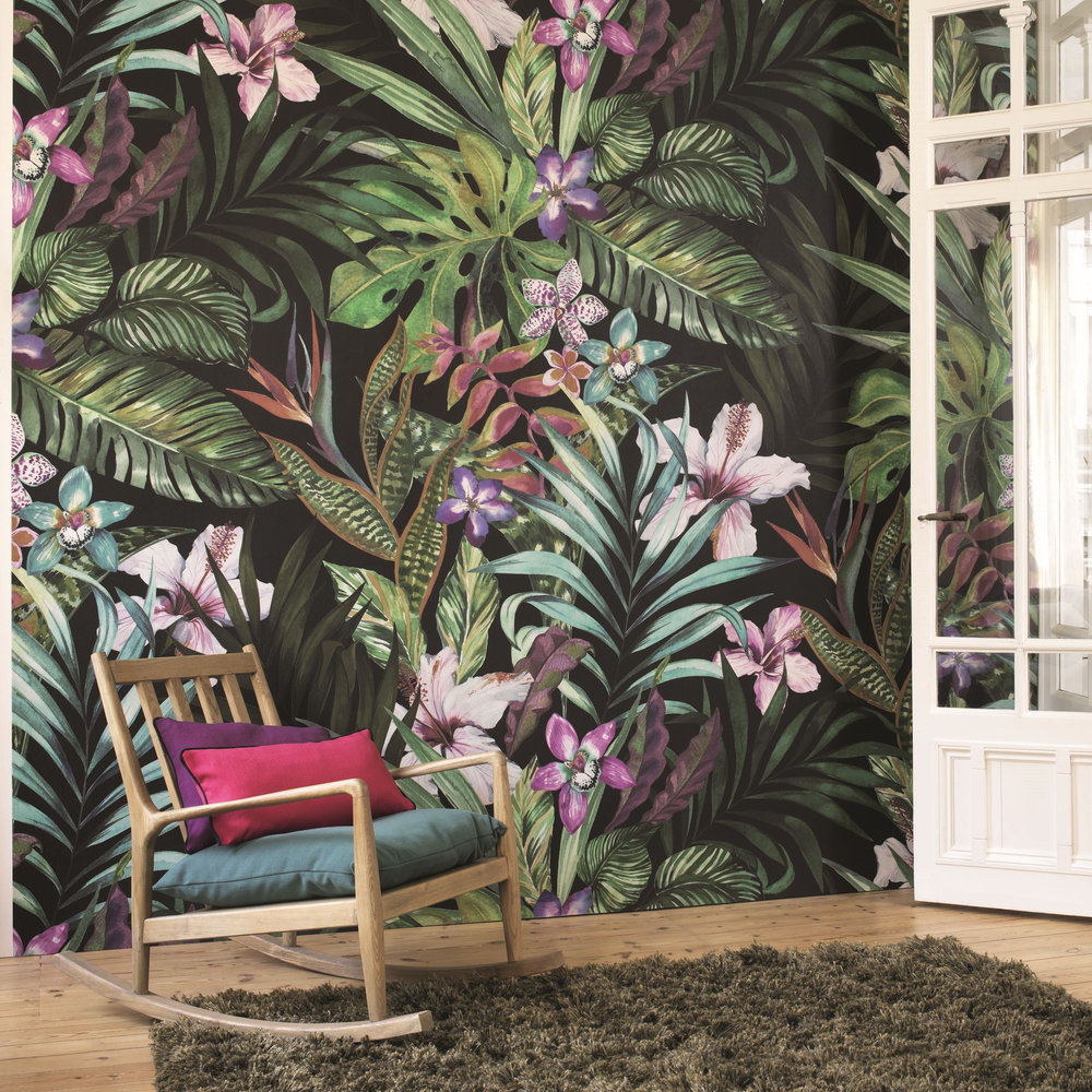 Tropical Garden Mural - Green Multi-Colour - by Casadeco