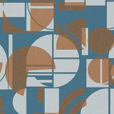 Harlequin Segments Ink and Copper Wallpaper