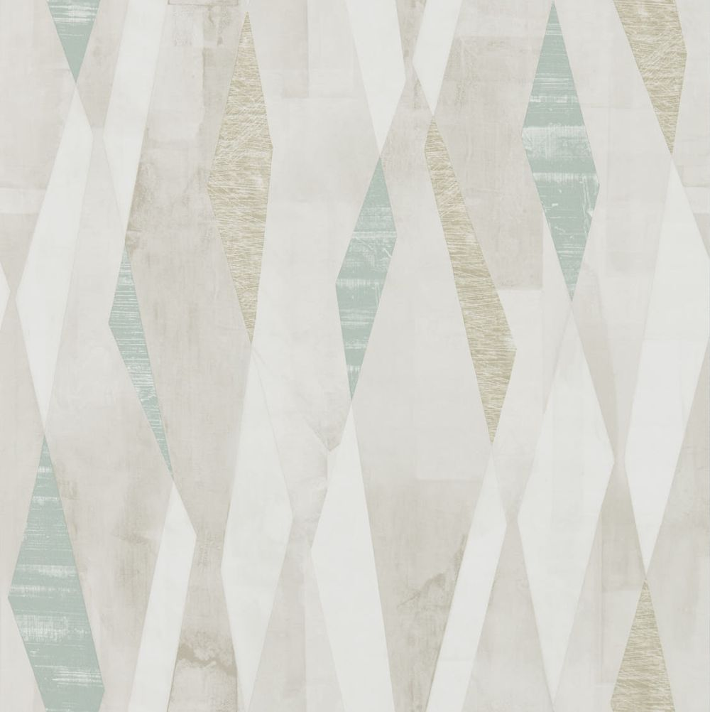 Harlequin Vertices Teal And Stone Wallpaper