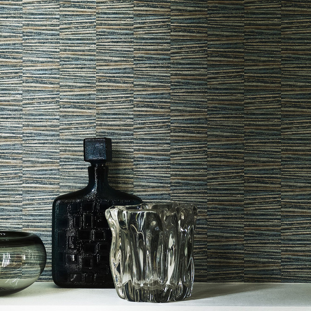 Ginto Wallpaper - Teal - by Jane Churchill